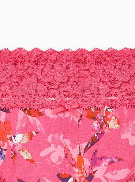 Pink Floral Wide Lace Cotton Hipster Panty, Light Forest Floral- PINK, alternate