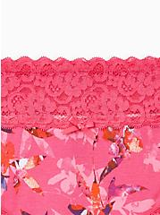 Plus Size Pink Floral Wide Lace Cotton Hipster Panty, Light Forest Floral- PINK, alternate