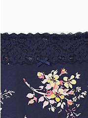 Blue Floral Wide Lace Cotton Boyshort Panty, Pretty Petals- NAVY, alternate