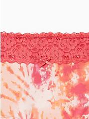 Pink Orange Tie Dye Wide Lace Cotton Boyshort Panty, Tie Dye Motif, alternate