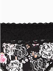 Black Floral Wide Lace Cotton Thong Panty, Draw Floral- BLACK, alternate