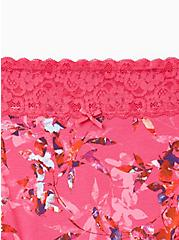 Plus Size Pink Floral Wide Lace Cotton Brief Panty, Light Forest Floral- PINK, alternate