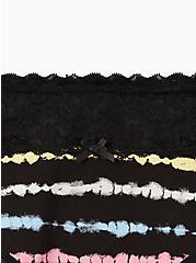 Black Rainbow Stripe Wide Lace Cotton Cheeky Panty, TIED STRIPE, alternate
