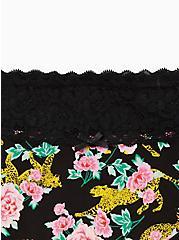 Wide Lace Cotton Cheeky Panty - Cheetah Floral Black, Cheetah Habitat Floral- BLACK, alternate
