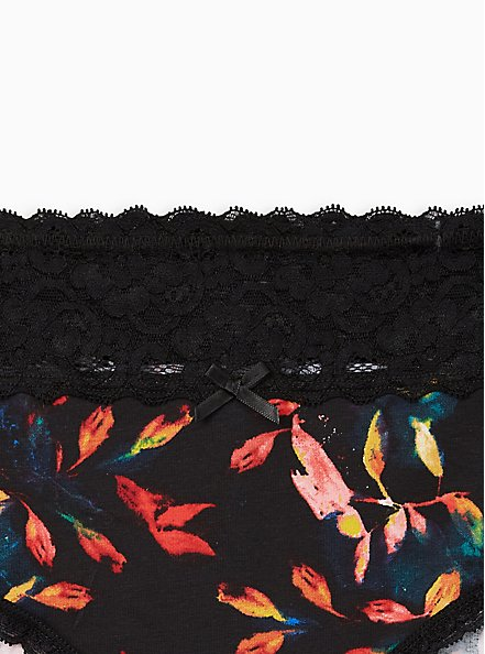 Wide Lace Cotton Hipster Panty - Multi Leaves Blue, Water Leaves- BLACK, alternate