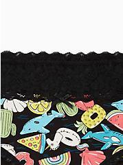 Black Pool Floaties Wide Lace Cotton Hipster Panty, Pool Floaties- BLACK, alternate