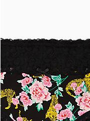 Plus Size Black Cheetah Floral Wide Lace Cotton Hipster Panty, Cheetah Habitat Floral- BLACK, alternate