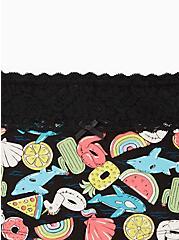 Black Pool Floaties Wide Lace Cotton Boyshort Panty, Pool Floaties- BLACK, alternate
