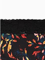 Wide Lace Cotton Boyshort Panty - Multi Leaves Black, Water Leaves- BLACK, alternate