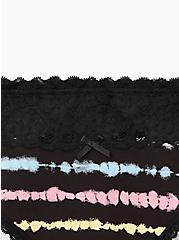 Black Rainbow Stripe Wide Lace Cotton Thong Panty, TIED STRIPE, alternate