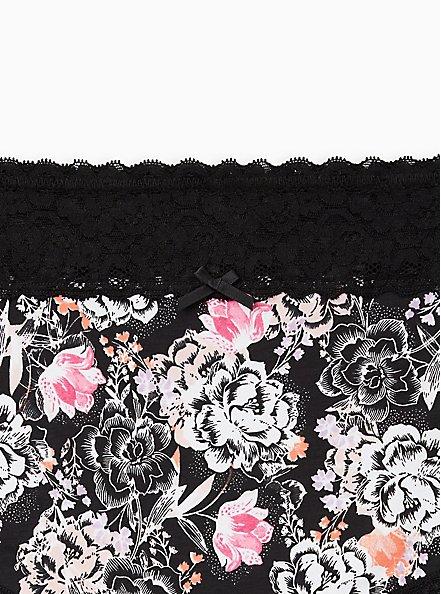 Black Floral Wide Lace Cotton Brief Panty, Draw Floral- BLACK, alternate
