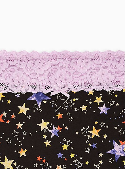 Black Stars Wide Lace Cotton Brief Panty, Star Levels- BLACK, alternate