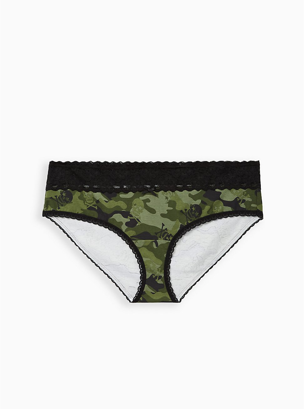 Olive Skull Camo Wide Lace Cotton Cheeky Panty, Camo Skull Toss- OLIVE, hi-res