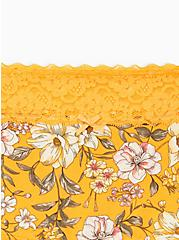 Yellow Floral Wide Lace Cotton Boyshort Panty, Trish Floral- YELLOW, alternate