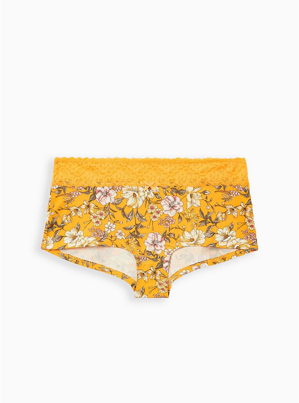 Yellow Floral Wide Lace Cotton Boyshort Panty, Trish Floral- YELLOW, hi-res