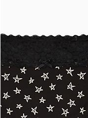 Black Stars Wide Lace Cotton Boyshort Panty, SKETCHY STARS, alternate