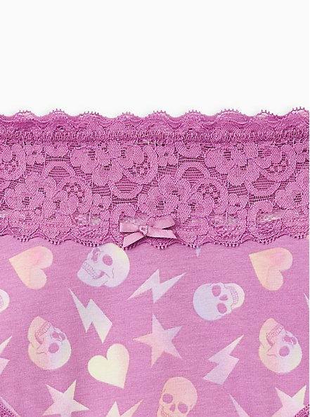 Purple Skull Abstract Toss Wide Lace Cotton Cheeky Panty, Abstract Toss, alternate