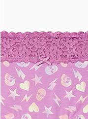 Wide Lace Cotton Boyshort Panty - Skull Abstract Toss Purple, Abstract Toss, alternate