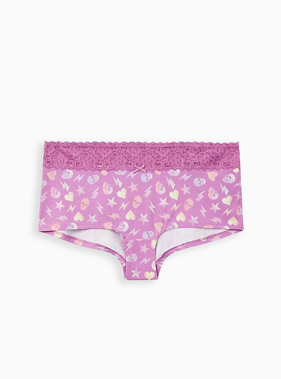 Wide Lace Cotton Boyshort Panty - Skull Abstract Toss Purple, , hi-res