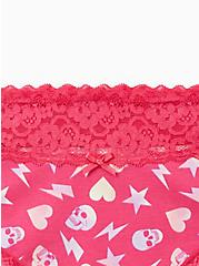 Pink Skull Abstract Toss Wide Lace Cotton Cheeky Panty, Abstract Toss, alternate