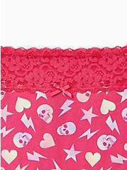 Plus Size Wide Lace Cotton Boyshort Panty - Abstract Skull Pink, Abstract Toss, alternate