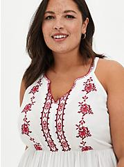 White Floral Embroidered Gauze Babydoll Top, CLOUD DANCER, alternate