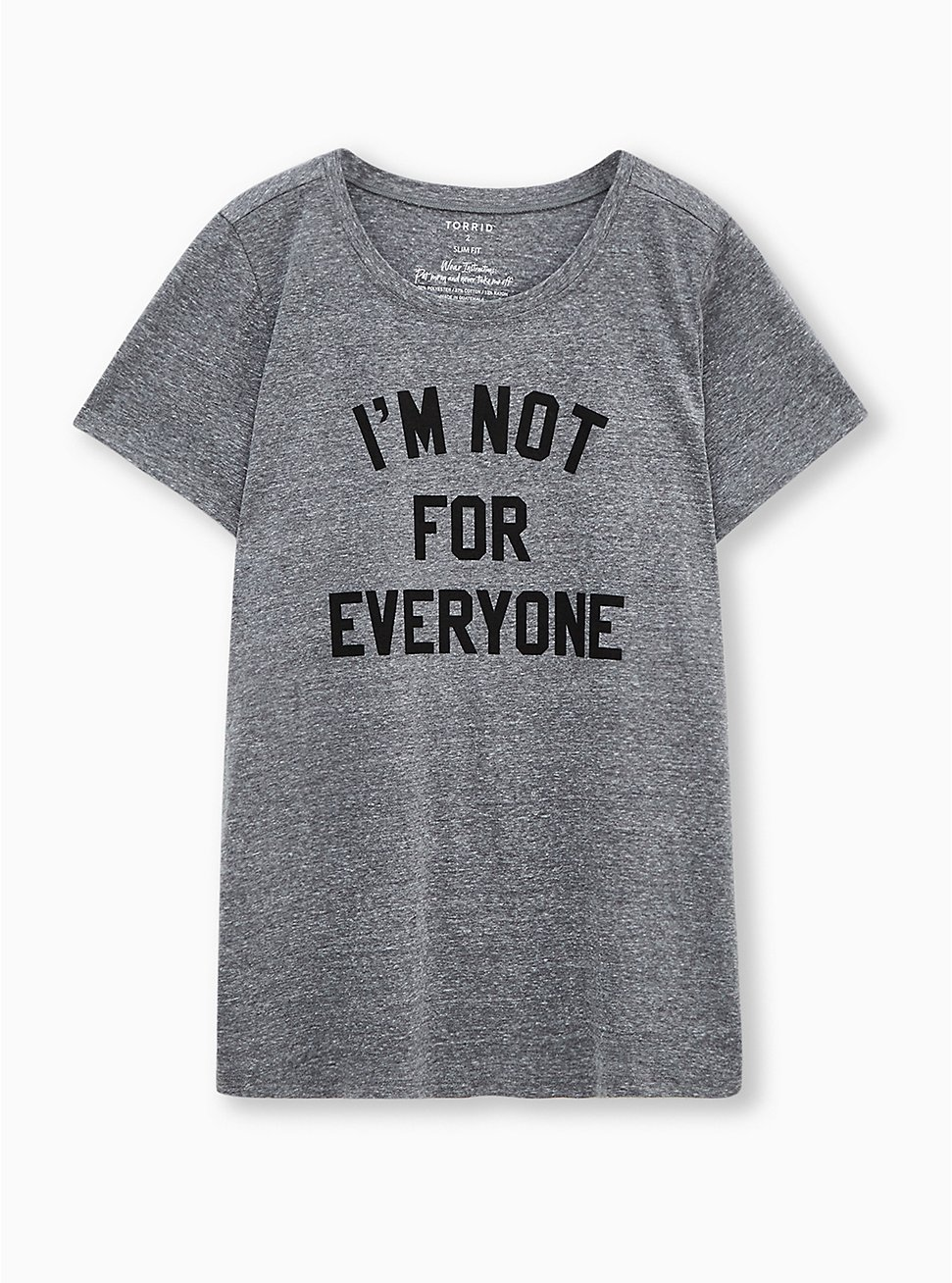 Slim Fit Crew Tee - Triblend Jersey Not For Everyone Grey, MEDIUM HEATHER GREY, hi-res