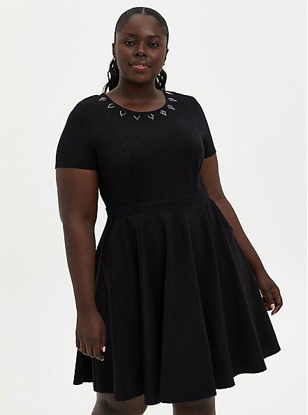 Skater Dress - Marvel Black Panther Spikes , DEEP BLACK, alternate