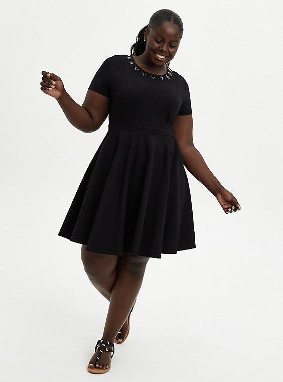 Skater Dress - Marvel Black Panther Spikes , DEEP BLACK, hi-res