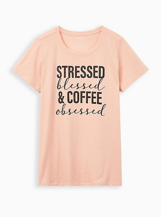 Slim Fit Crew Tee - Triblend Jersey Stressed Blessed Peach , BLUSH, hi-res