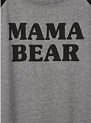 Classic Fit Raglan Tee - Mama Bear Grey & Black, MEDIUM HEATHER GREY, alternate