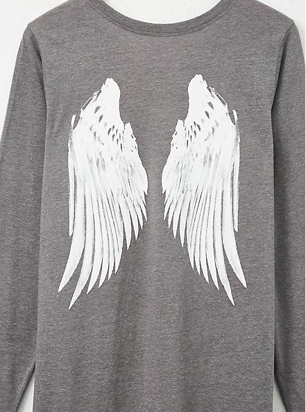 Heather Grey Wings Long Sleeve Tee, MEDIUM HEATHER GREY, alternate