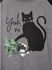 Classic Fit Raglan Tee - Yeah No Cat Grey & Black, MEDIUM HEATHER GREY, alternate