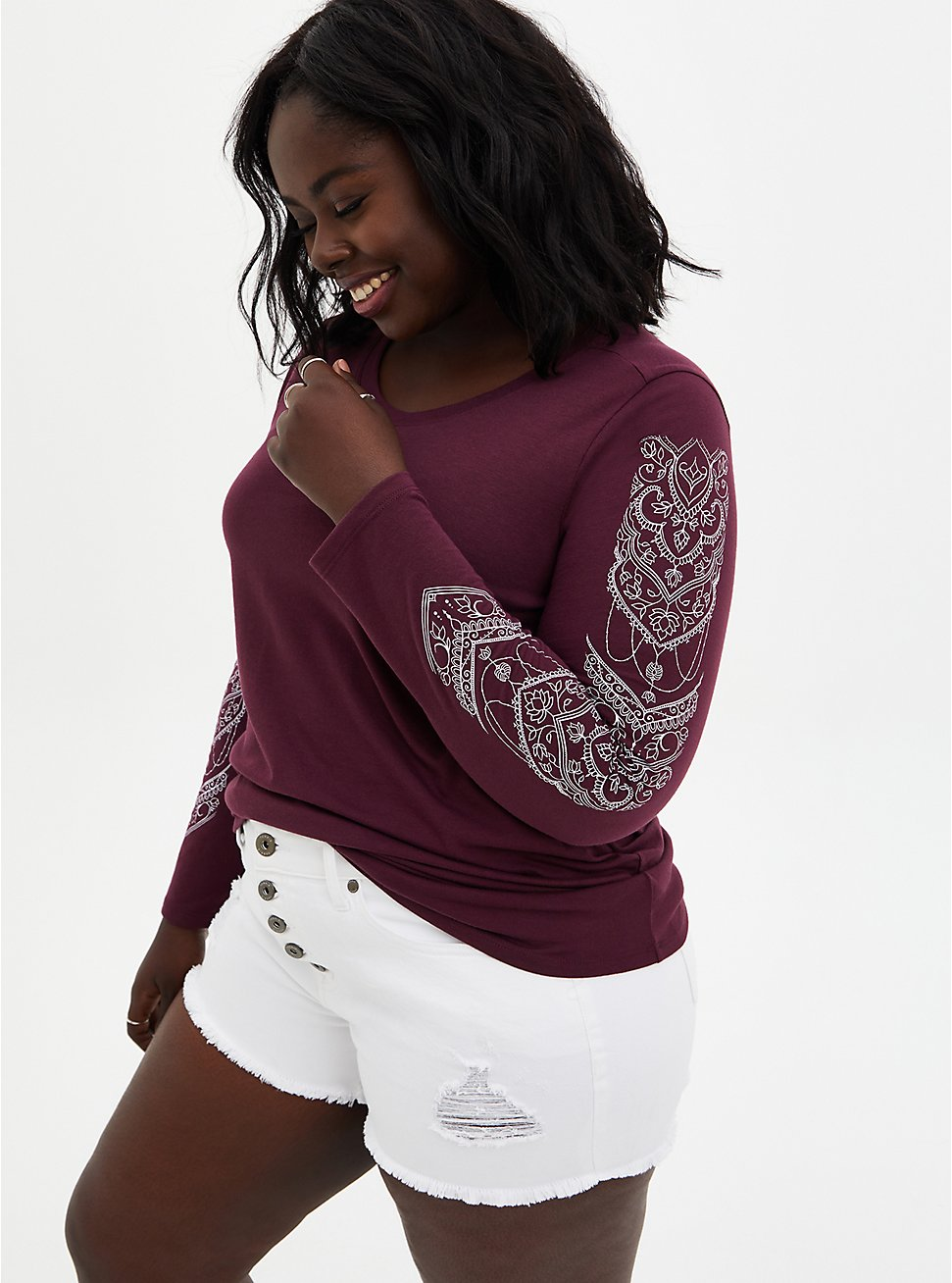 Long Sleeve Tee - Henna Burgundy Purple , BURGUNDY, hi-res