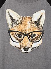 Classic Fit Raglan Tee - Fox Glasses Grey & Black, MEDIUM HEATHER GREY, alternate