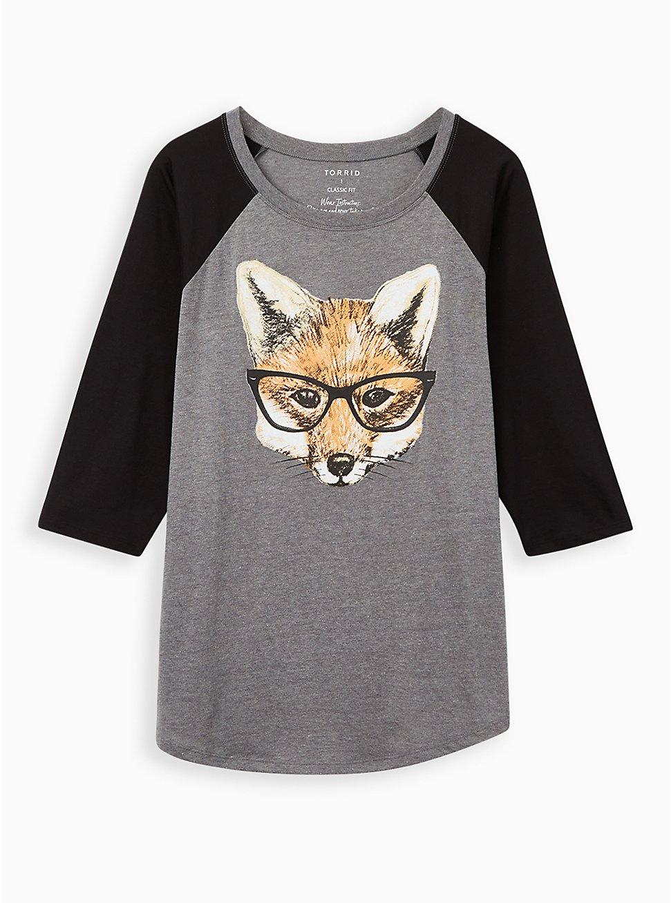 Classic Fit Raglan Tee - Fox Glasses Grey & Black, MEDIUM HEATHER GREY, hi-res