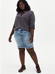 Burnout Denim Mini Skirt, BURNOUT, alternate