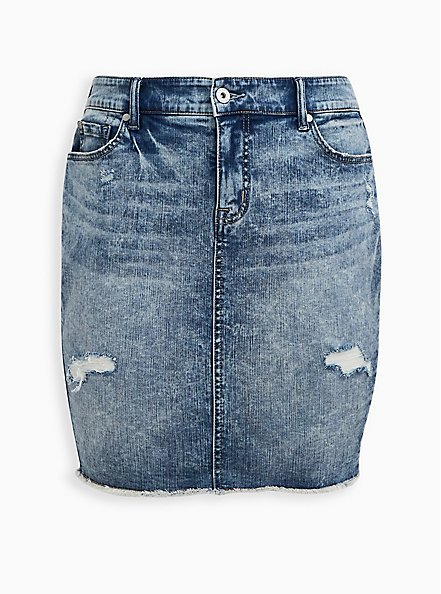 Burnout Denim Mini Skirt, BURNOUT, hi-res