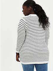 White & Black Stripe Open Front Cardigan Sweater, STRIPE - MULTICOLOR, alternate