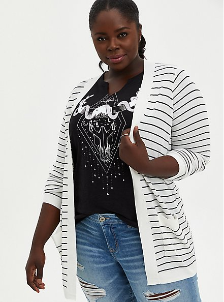 White & Black Stripe Open Front Cardigan Sweater, STRIPE - MULTICOLOR, hi-res