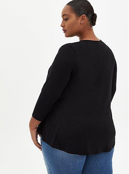 Plus Size Super Soft Black Open Front Fit & Flare Cardigan, DEEP BLACK, alternate