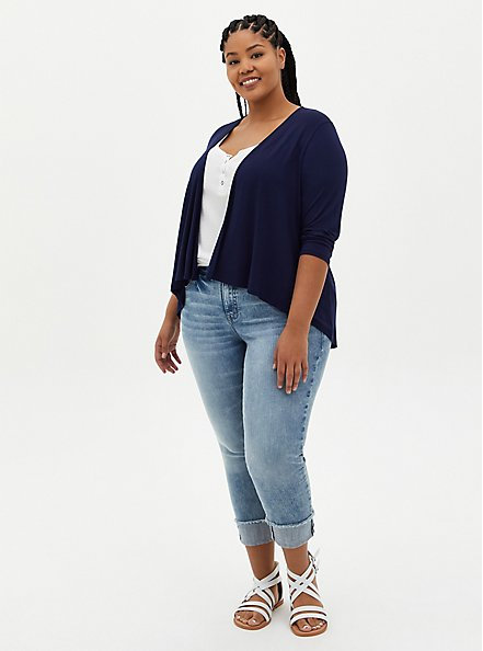Super Soft Navy Open Front Fit & Flare Cardigan, PEACOAT, alternate