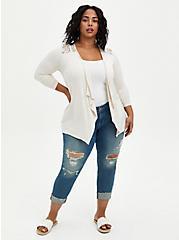 Plus Size Super Soft Drape Oatmeal Open Front Fit & Flare Cardigan , OATMEAL HEATHER, alternate