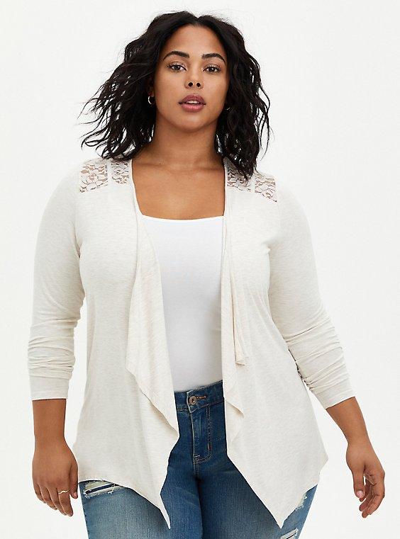 Plus Size Super Soft Drape Oatmeal Open Front Fit & Flare Cardigan , , hi-res