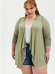 Open Front Cardigan - Super Soft Green , MUSHROOM, alternate