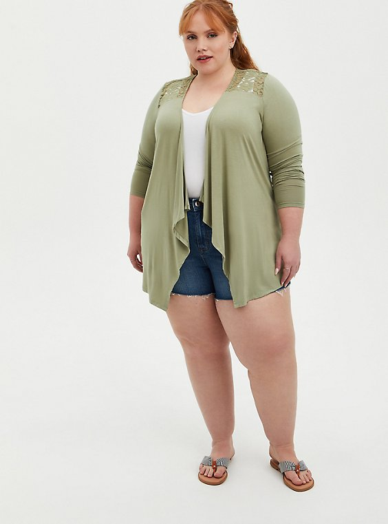 Open Front Cardigan - Super Soft Green , MUSHROOM, hi-res