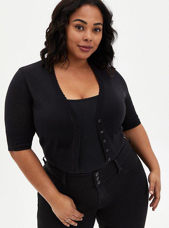 Black Pointelle Button Crop Cardigan, DEEP BLACK, hi-res
