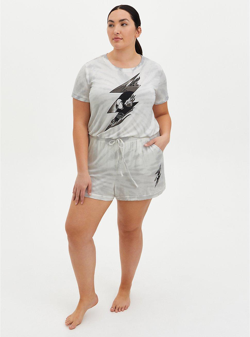 Plus Size Super Soft White Tie-Dye Bolt Sleep Short, MULTI, hi-res