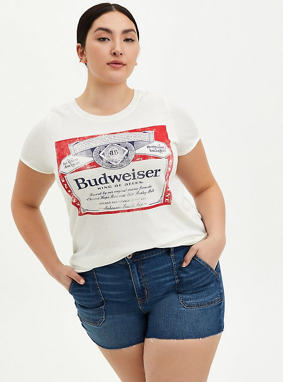 Plus Size Classic Fit Crew Tee - Budweiser White  , BRIGHT WHITE, hi-res