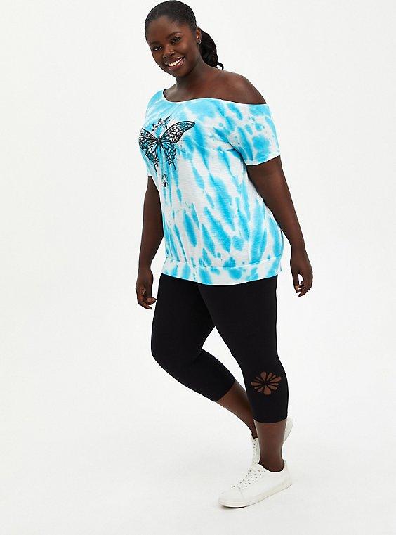 Premium Legging - Capri Twist Cutout Side Detail Black, BLACK, hi-res